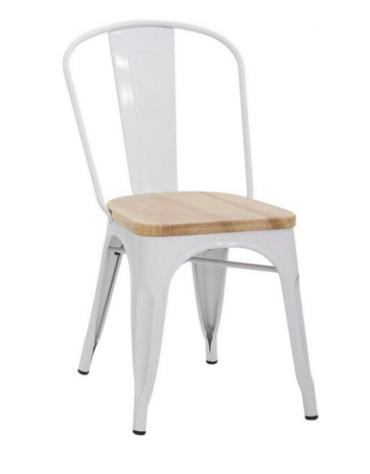 SEDIA  Struttura in metallo verniciato, seduta in legno 36x36x85h
