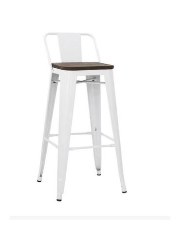 SGABELLO  Struttura in metallo verniciato, seduta in legno cm 30x30x98.5h