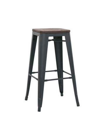 SGABELLO  Struttura in metallo verniciato, seduta in legno cm 30x30x76h
