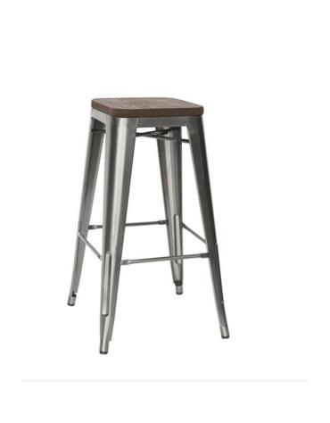 SGABELLO  Struttura in metallo verniciato e vernice trasparente, seduta in legno cm 30x30x76h