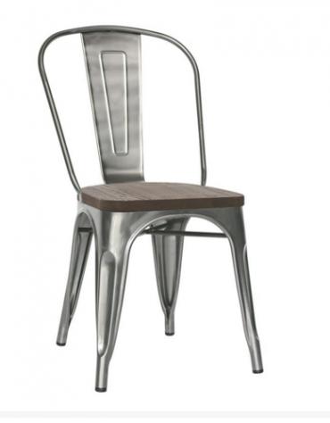 SEDIA  Struttura in metallo verniciato e vernice trasparente, seduta in legno cm 36x36x85
