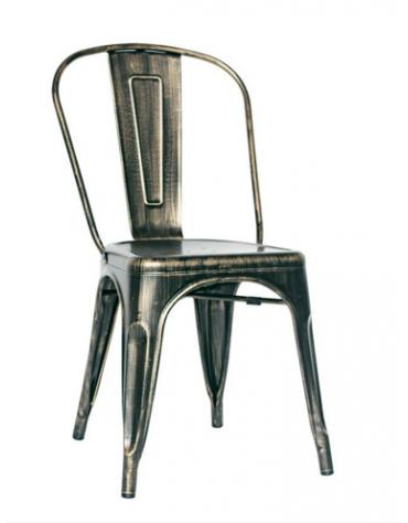 SEDIA  Struttura in metallo verniciato effetto anticato cm 36x36x85h