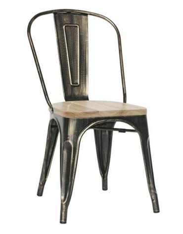 SEDIA  Struttura in metallo verniciato, effetto anticato, seduta in legno cm 36x36x85h