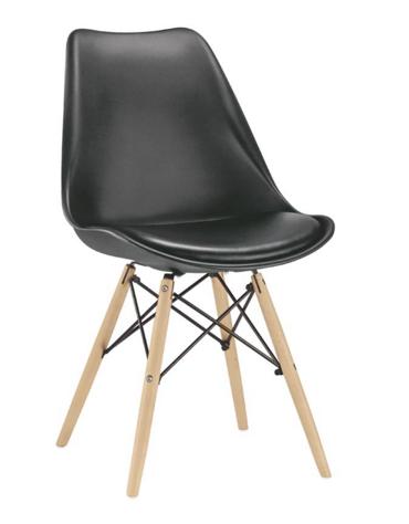 SEDIA  Struttura in metallo e legno, scocca in polipropilene, cuscino in ecopelle cm 48x50x82h