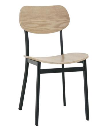 SEDIA  Struttura in metallo, seduta e schienale in legno multistrato cm 42x39x77h