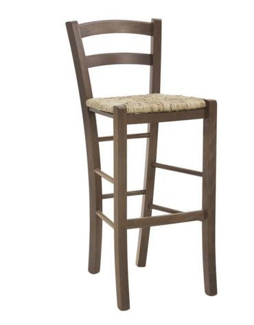 SGABELLO  Struttura in legno, seduta impagliata cm 40x37x102h