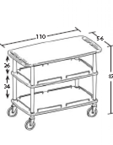 Carrello in legno - 3 piani - Dimensioni cm 110x56x87h