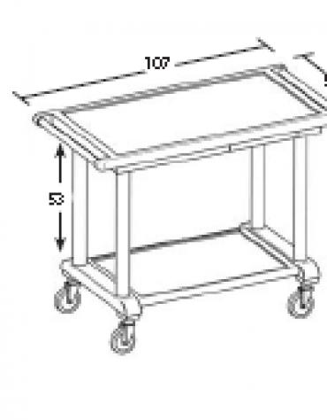 Carrello in legno - 2 piani - Dimensioni cm 107x55x82h