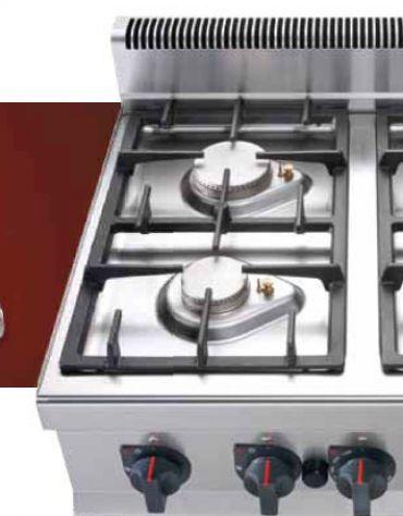 Cucina professionale industriale a gas 4 fuochi per ristorante cm 80x70x90h