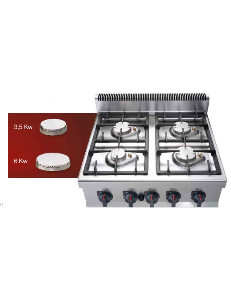 Cucina professionale industriale a gas 4 fuochi per ristorante cm ...