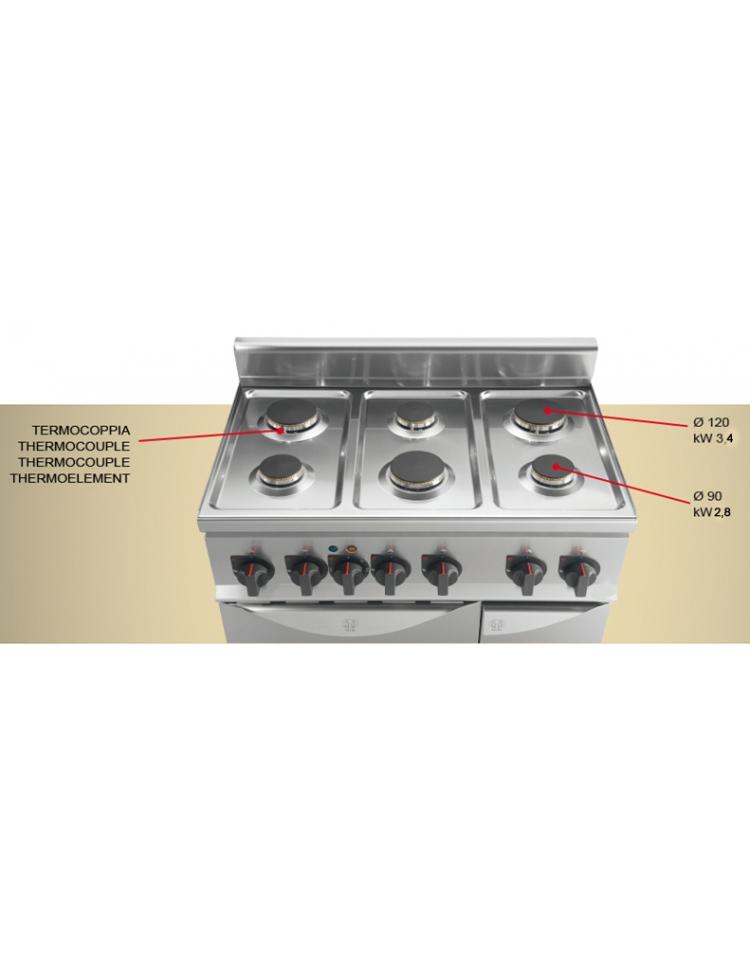 Cucina a gas da appoggio 4 fuochi bassa potenza - Cucina a gas da 90 ...