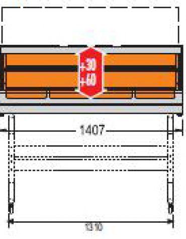 Vetrina calda da banco-Lunghezza cm. 140,7-Porta scorrevole