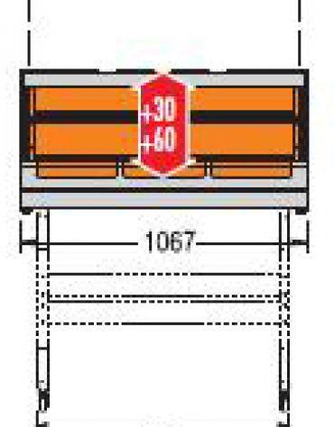 Vetrina calda da banco-Lunghezza cm. 106,7-Porta scorrevole