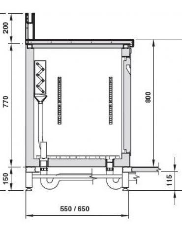 Retrobanco refrigerato 4 sportelli motore interno da cm. 250