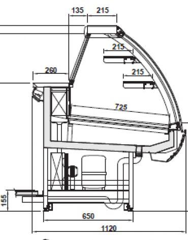 Vetrina pasticceria statica da cm. 125-Motore esterno