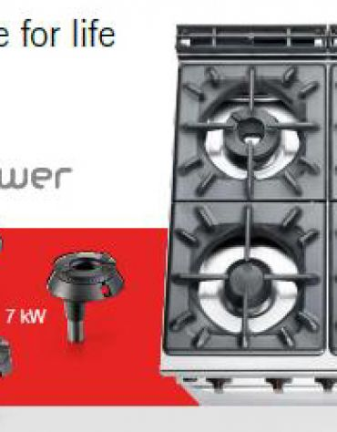 Cucina a gas 4 fuochi ALTA POTENZA con forno a gas GN 2/1 - cm 80x90x85/90h
