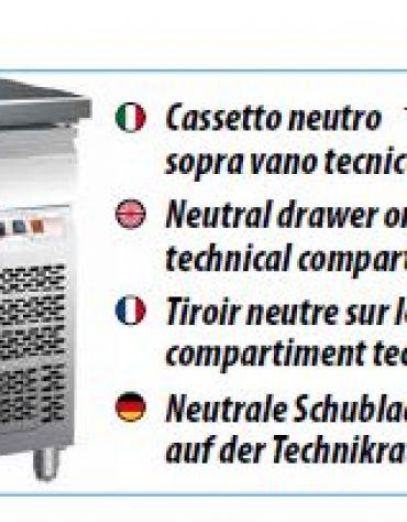 Tavolo refrigerato pasticceria ventilato con alzatina 3 porte cm 202x80x85h
