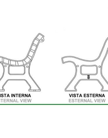 Panchina Italia in ghisa- Doghe in legno di iroko