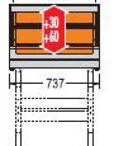 Vetrina calda da banco-Lunghezza cm. 73,7-Porta a battente