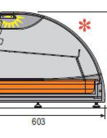 Vetrina calda con ripiano da banco-Lunghezza cm. 142,5
