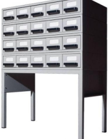 Schedario da biblioteca Modulo componibile da 5 cassetti