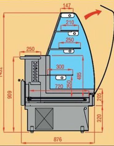 Vetrina pasticceria statica con cassetto estraibile da cm. 143,5