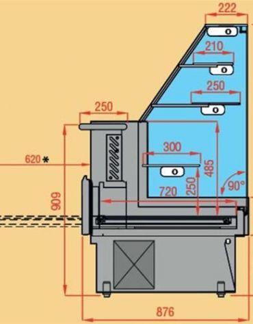 Vetrina pasticceria statica con cassetto estraibile da cm. 279