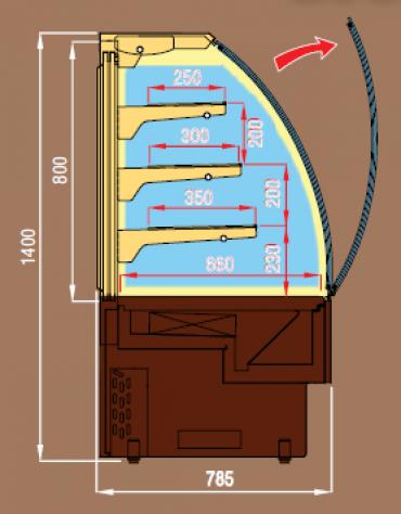 Vetrina pasticceria ventilata da cm. 240