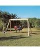 Altalena in legno da giardino per bambini 2 posti (sedili piani) - Modello Giamaica