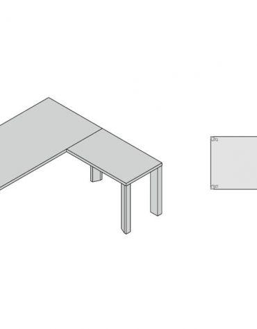 Composizione scrivania g. legno e allungo 180x190x74