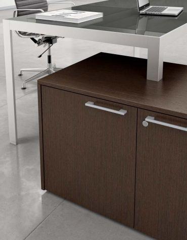 Scrivania Lineare gamba in alluminio Piano in vetro L200
