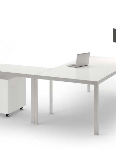 Scrivania Lineare gamba in alluminio Piano in vetro L200 Special