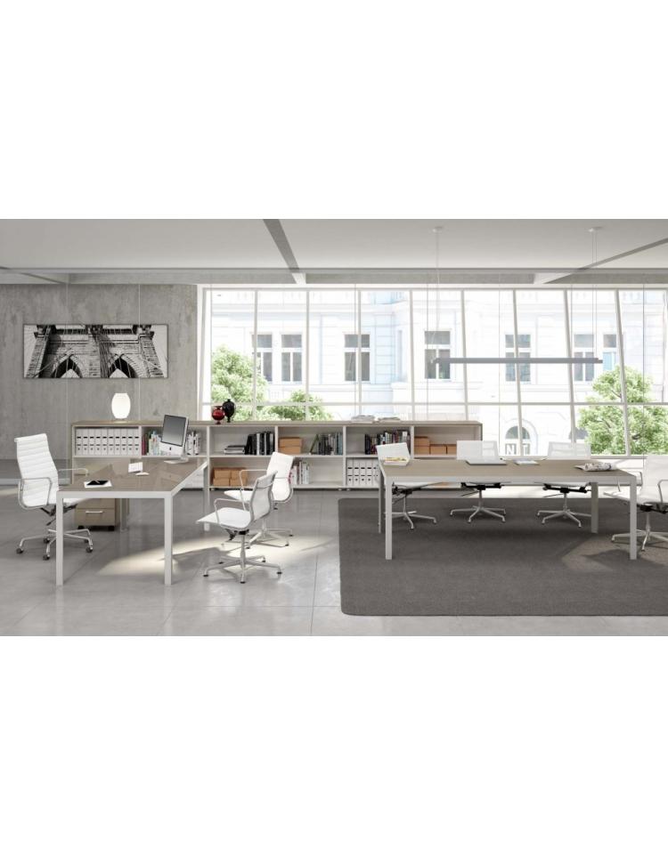 Tavolo riunione g alluminio piano vetro 160x164 special - Piano tavolo vetro ...