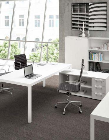 tavolo riunione g. alluminio Piano in vetro 160x164
