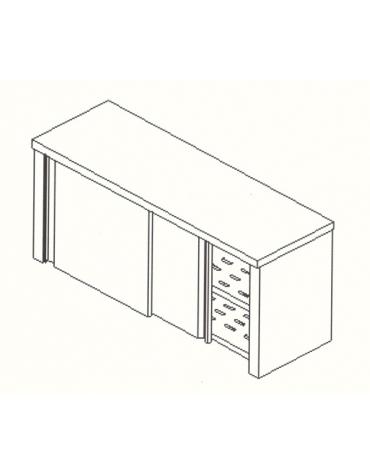 Armadietto pensile inox -Ripiani asolati-cm. 130x40x60h