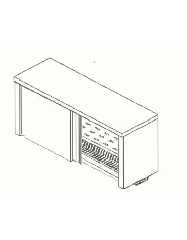 Armadietto pensile-Ripiani asolati e scolapiatti-cm. 190x40x60h