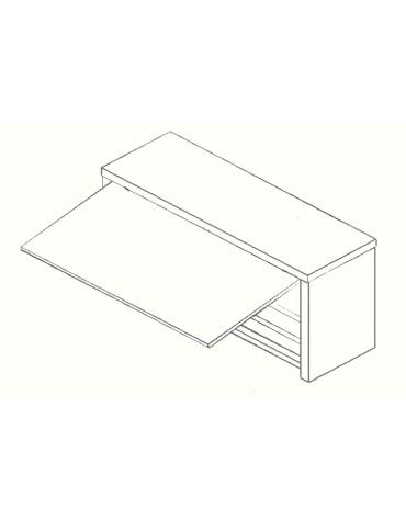Armadietto pensile inox -Anta basculante a pistoni-cm. 130x40x60
