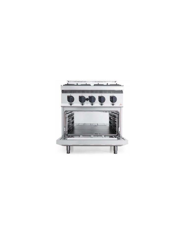 Cucina a gas 4 fuochi media potenza con forno a gas gn 2 1 - Cucina a gas da 90 ...