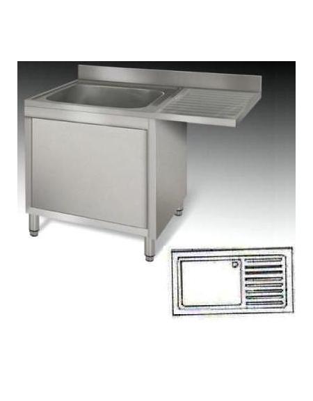 lavello armadiato inox 1 vasca+gocciolatoio cm 140x70x85h - lavelli