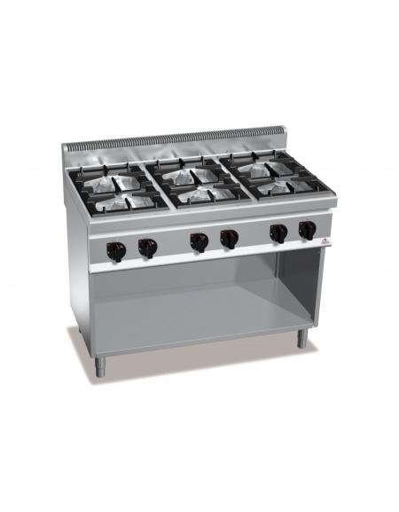Cucina professionale industriale a gas 6 fuochi alta potenza cm 120x70x85 90 linea - Cucina a gas da 90 ...