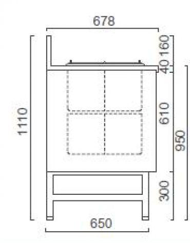 Banco granite con riserva da N° 4+4 Pozzetti-MOTORE ESTERNO