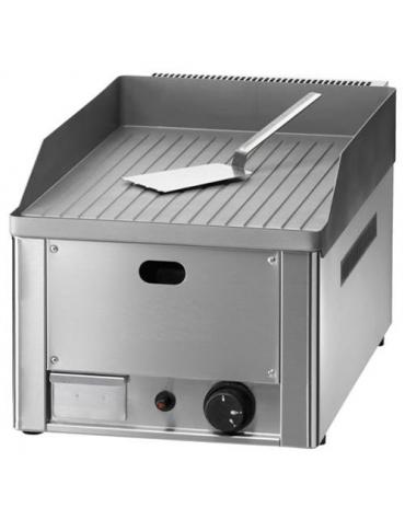 Fry top a gas singolo - Piastra rigata - CM 33,5X57X30H