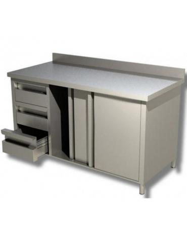 Tavolo armadiato inox con cassettiera a 3 cassetti cm 150x70x85h