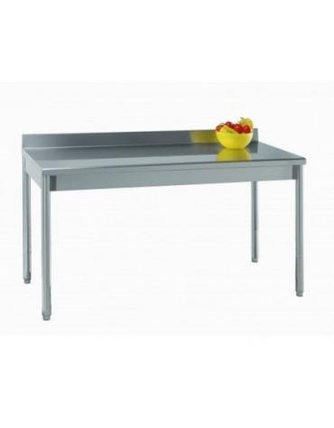Tavolo acciaio inox gambe tonde con alzatina cm.200x70x85/90h