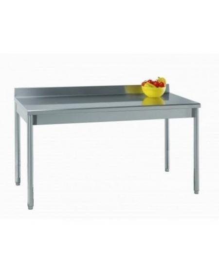 Tavolo acciaio inox g tonde c alzatina profondit cm 70 piano di lavoro - Tavolo acciaio inox usato ...