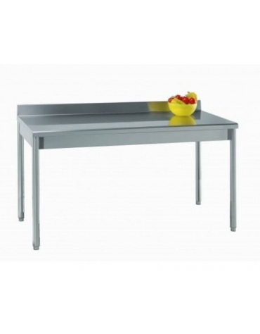 Tavolo acciaio inox gambe tonde con alzatina cm.130x70x85/90h