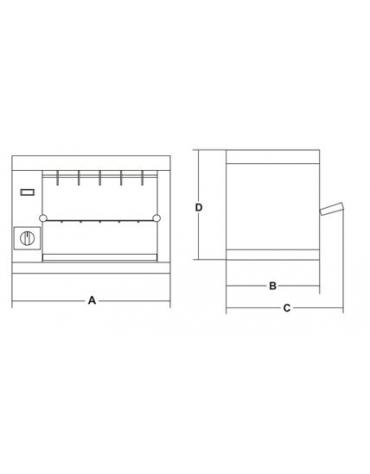 Tostiera inox di grande capacità a 2 piani - Dimensione vano cottura cm 45x33