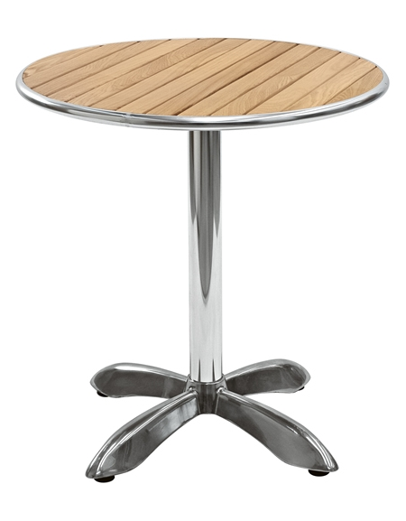 Tavolo in alluminio e legno rotondo diametro cm 80 for Tavolo rotondo diametro 90