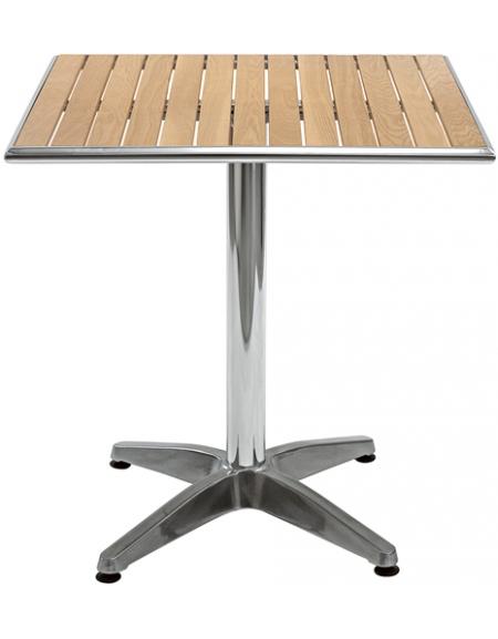 Tavolo in alluminio e legno quadrato cm. 70x70x78h