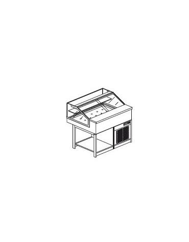 Vetrina calda a secco con vetri dritti bassi - Lunghezza cm 100